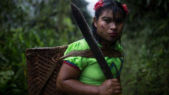 Mulher da tribo Emberá Katio lança olhar penetrante a fotógrafo