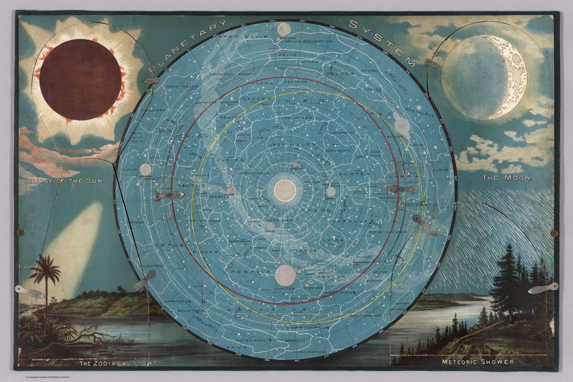 Parte de um kit de material de estudo de geografia usado em 1887, esta carta mostra o Sol, a Lua e as estrelas. Pequenas linguetas de metal fixavam cinco badanas que podiam ser abertas para obter mais detalhes.