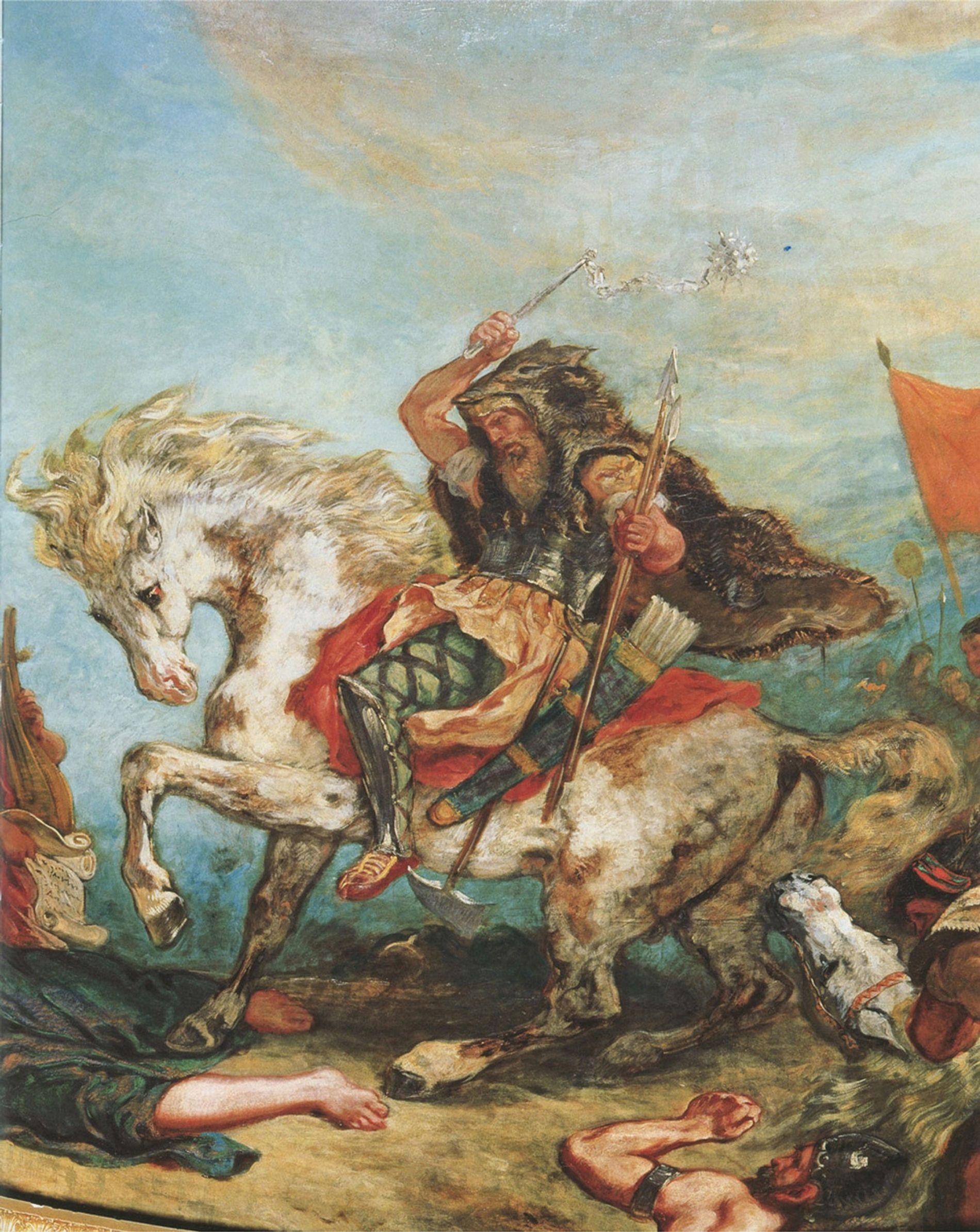 Átila, o Huno, e a sua horda em combate, num quadro do artista francês Eugene Delacroix.