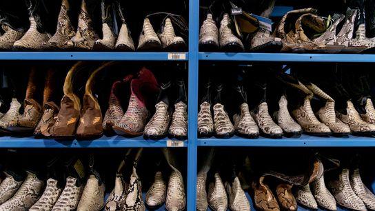 As autoridades do Serviço de Pesca e Vida Selvagem dos EUA confiscaram estas botas de pele ...