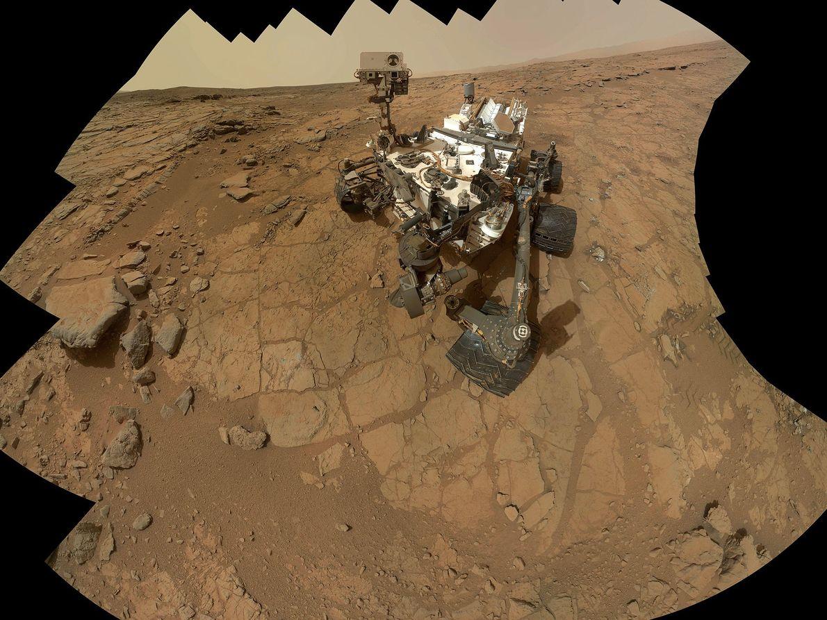 Um autorretrato da sonda Curiosity, em Marte.