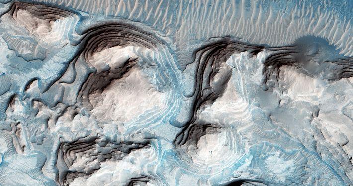 Imagem de possível roupa de cama cíclica na Arabia Terra em Marte