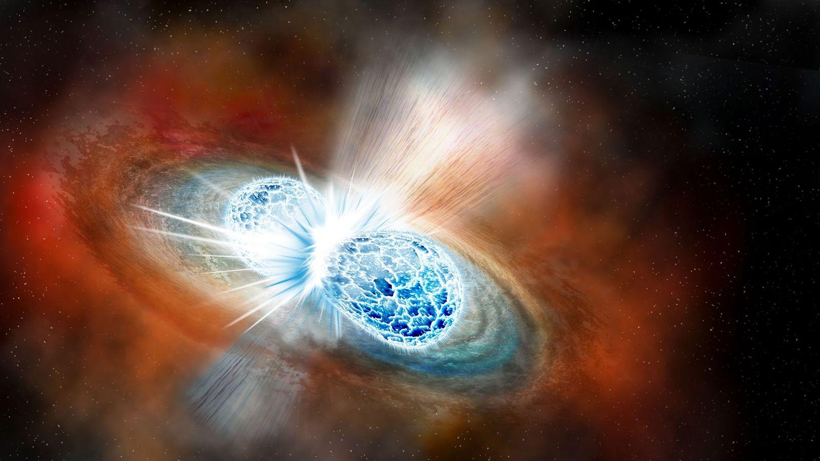 Nesta ilustração, duas estrelas de neutrões colidem entre si num evento explosivo chamado 'kilonova'. No dia ...