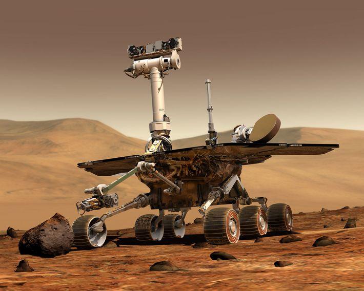 Um Rover Explorador de Marte da NASA, na superfície de Marte