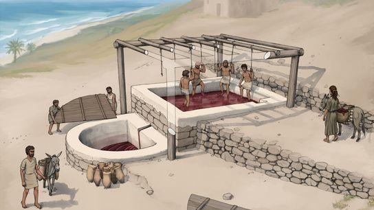 Uma reconstrução artística do lagar de vinho de Tell el-Burak, visto de sudeste.