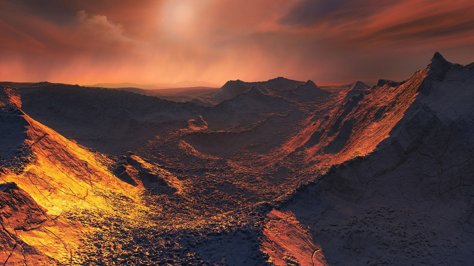 Uma ténue estrela vermelha ergue-se sobre a paisagem neste planeta recentemente descoberto