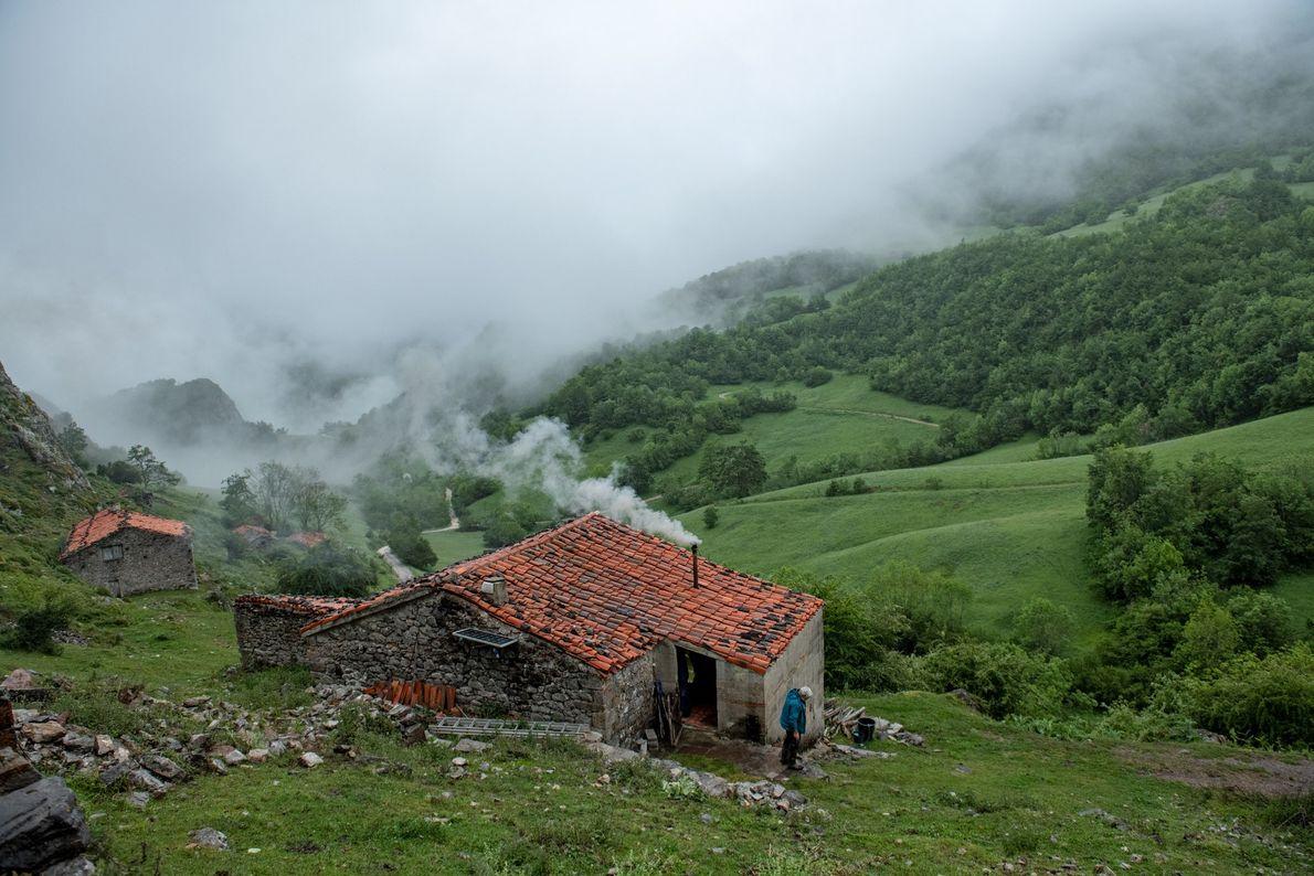 A névoa cobre as colinas verdejantes que cercam a casa de Bada Herrero, perto da vila ...