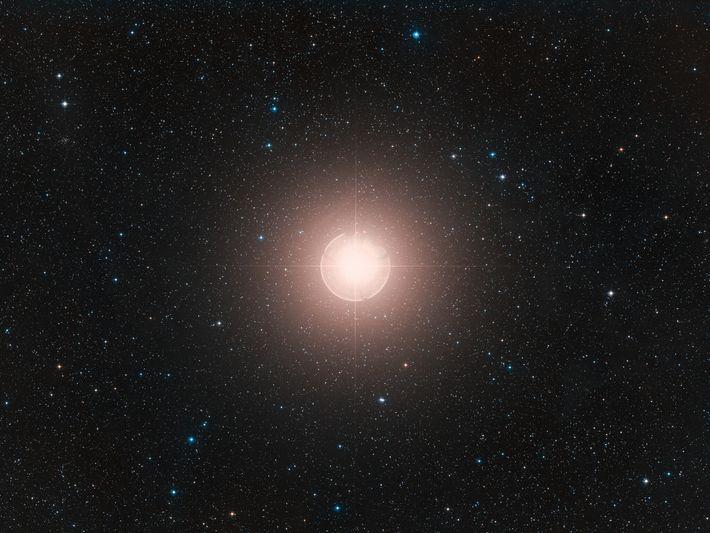 Esta imagem de Betelgeuse, uma das estrelas mais brilhantes no céu, é uma composição colorida feita ...