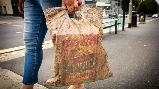 Um saco de plástico que esteve enterrado durante 3 anos ainda consegue transportar compras.