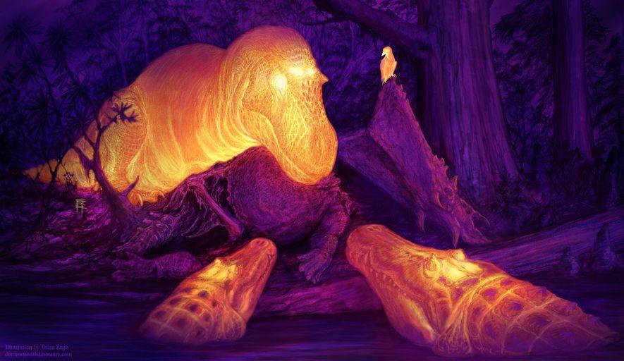Esta reconstrução artística imagina em infravermelhos o final do período Cretáceo na América do Norte, com ...