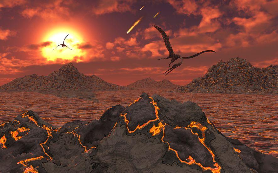 Pterossauros a sobrevoar uma paisagem vulcânica durante o evento de extinção em massa que matou os ...
