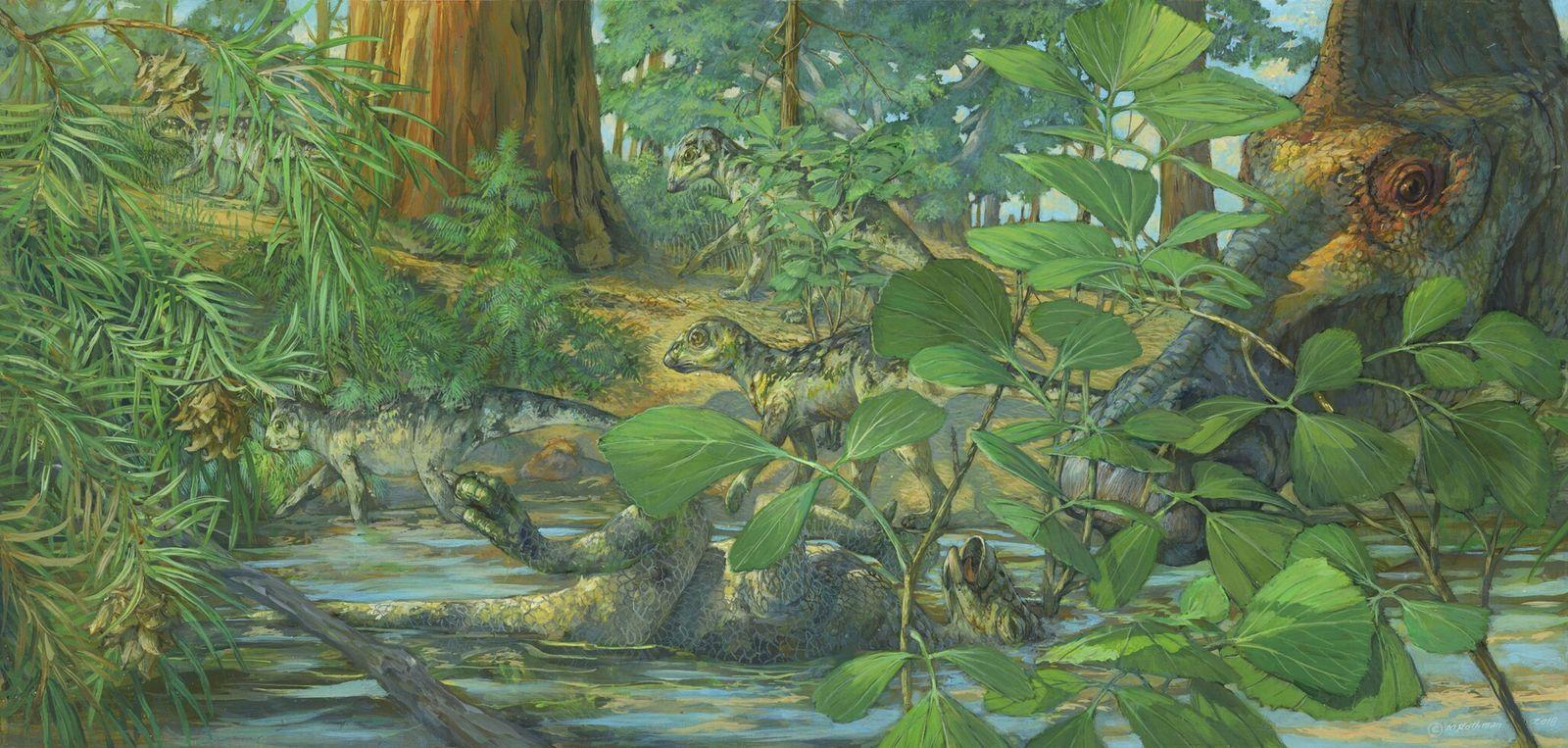 Reconstrução de um local de nidificação do Hypacrosaurus stebingeri na formação Two Medicine de Montana. Ao ...