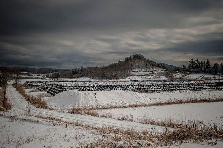 Um local de armazenagem temporária dos lixos nucleares em Iitate-mura, uma cidade onde os residentes foram ...