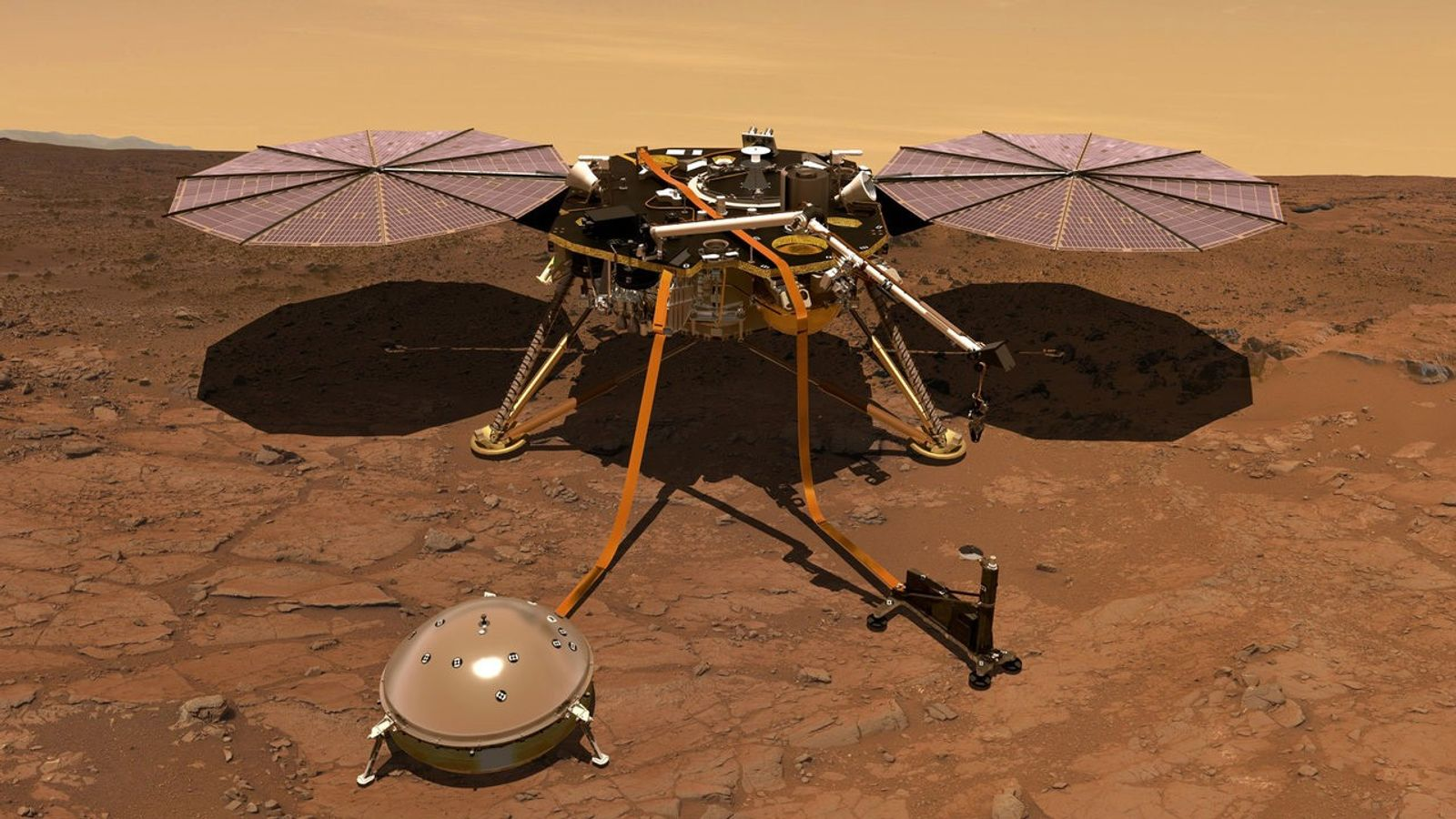 Nesta ilustração vemos a sonda InSight em solo marciano. Os dados preliminares enviados pela sonda sugerem ...