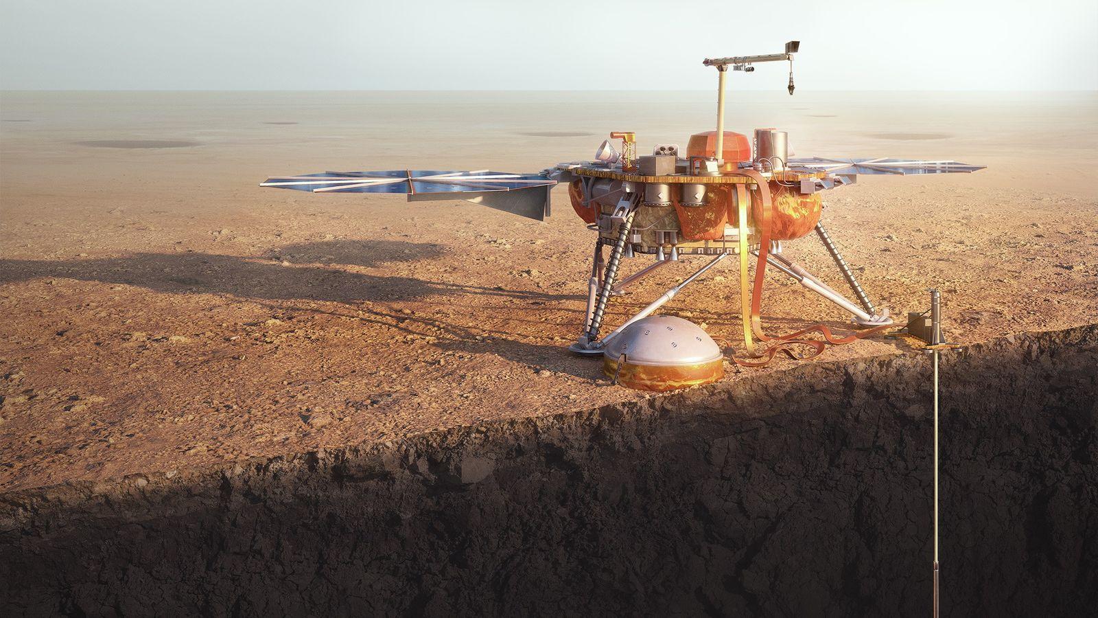 A sonda InSight da NASA aterra no planeta vermelho.