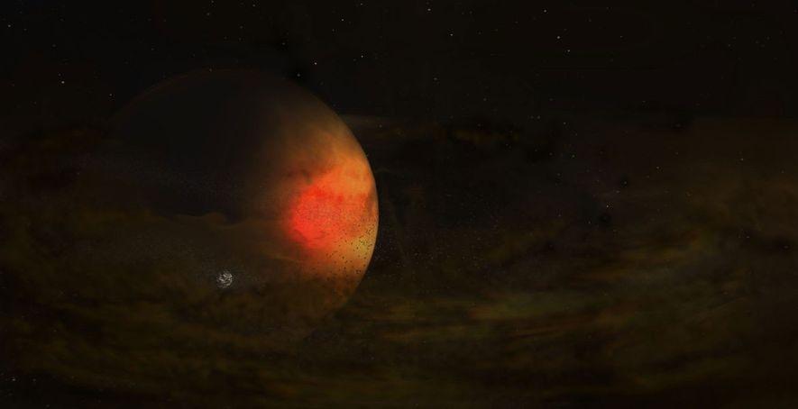 Um disco ténue de poeira rodeia um planeta enorme, dando possivelmente origem ao nascimento de uma ...