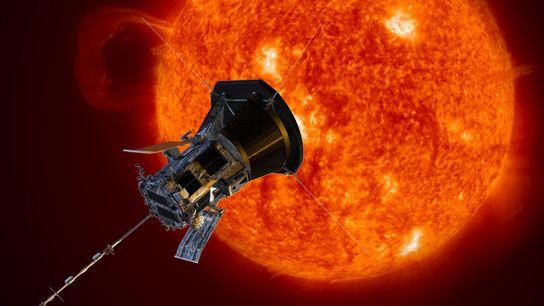 Nesta ilustração, a Sonda Parker Solar aproxima-se do sol. Lançada em 2018, a sonda está mais ...