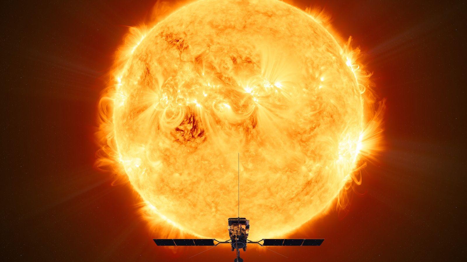 Esta ilustração mostra o Orbitador Solar da Agência Espacial Europeia em frente ao sol, durante a ...