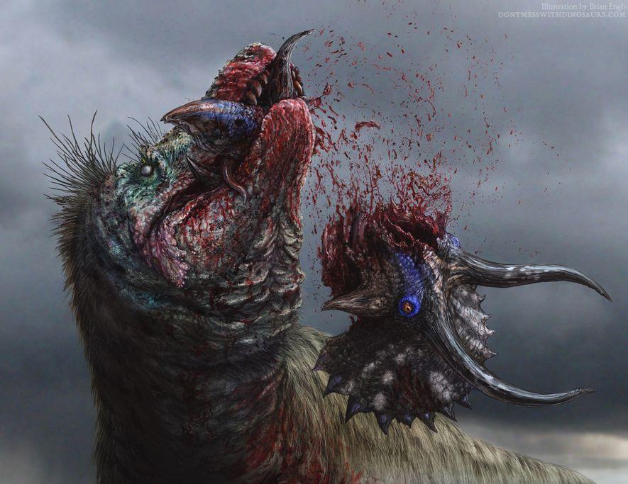 Uma ilustração de um T. rex a desfazer a sua vítima.