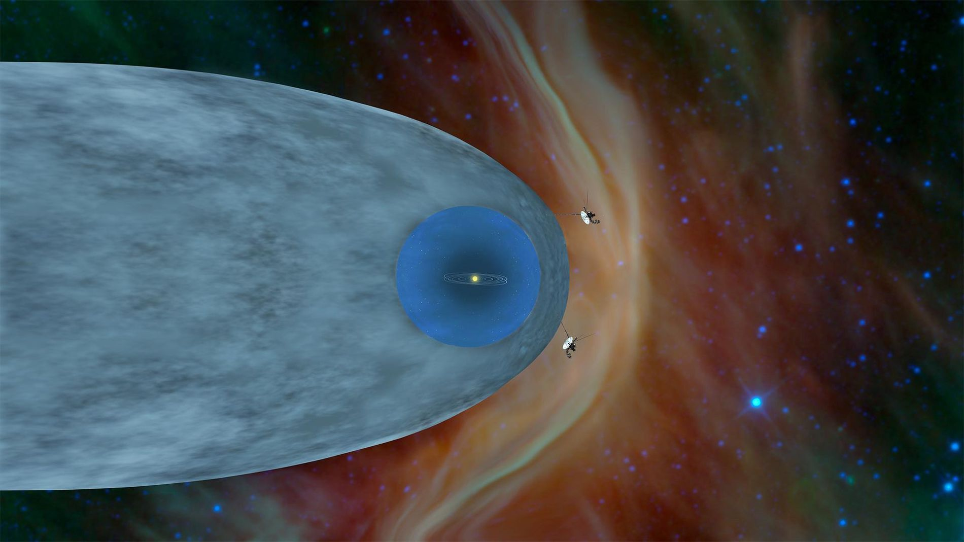 Esta ilustração mostra a posição das sondas Voyager 1 e Voyager 2 da NASA fora da ...