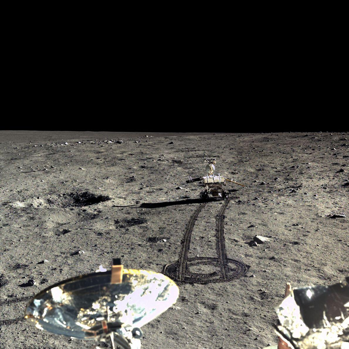 Imagem do rover de Yutu na lua