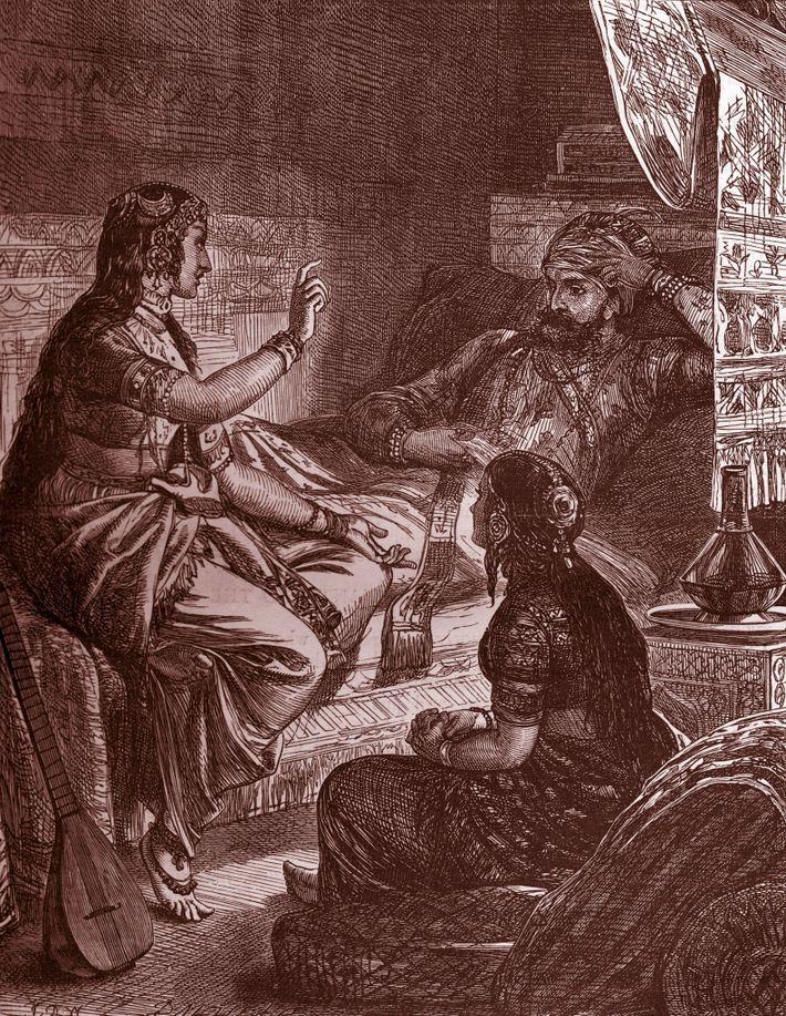 """Sherazade cativa o seu marido com histórias de embalar, em """"As Mil e Uma Noites""""."""