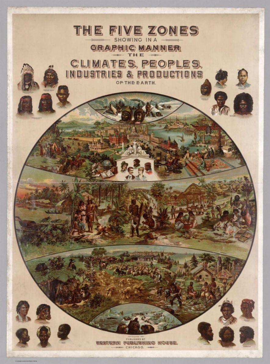 O mapa de Yaggy das regiões climáticas do planeta reflete o flagrante pensamento racista que dominou na era vitoriana e que defendia que as zonas temperadas eram mais favoráveis à civilização e ao progresso, enquanto os trópicos eram conducentes a sociedades primitivas.