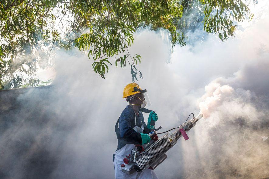 Um homem a pulverizar inseticida em Matadi, na República Democrática do Congo, para matar o mosquito ...