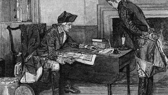 George Washington a estudar um mapa com Nathan Hale