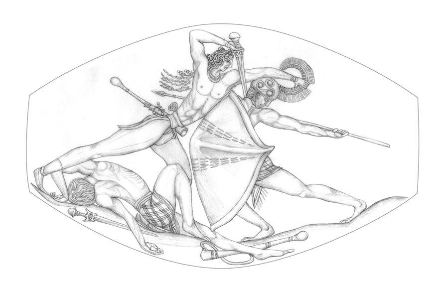 Um esboço da Ágata do Combate de Pylos mostra o incrível pormenor da gravação.