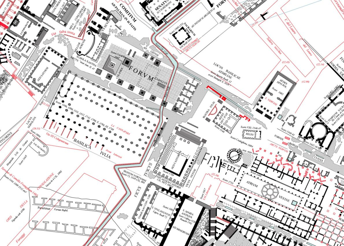 Vista pormenorizada da zona onde se situa o Fórum Romano