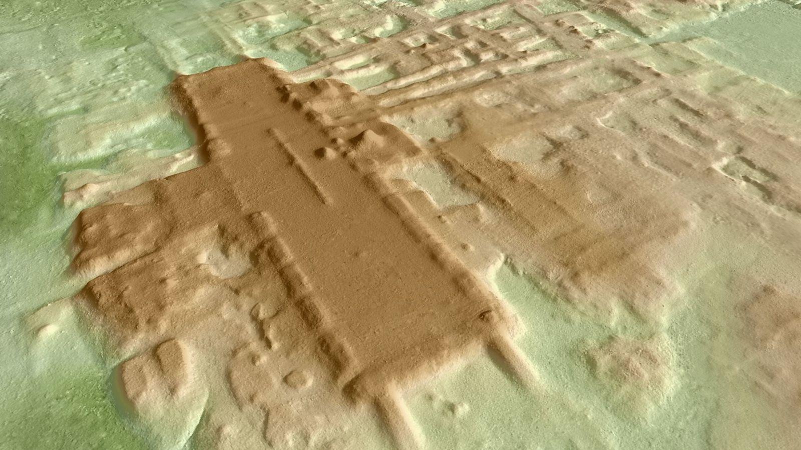 Uma imagem 3D da plataforma monumental em Aguada Fénix (destacada a castanho). Esta estrutura, construída há ...