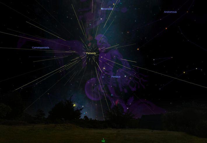 Os meteoros das Perseidas parecem sair de um ponto situado na constelação de Perseus.
