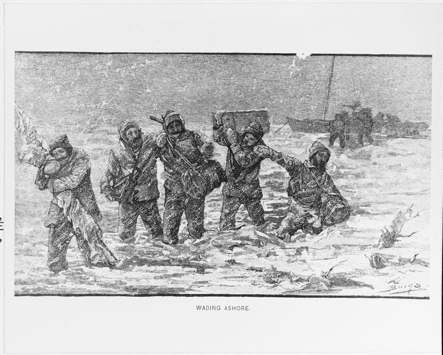 Esta xilogravura mostra o tenente comandante George DeLong e o seu destacamento a desembarcar do navio USS Jeannette em 1881. A embarcação afundou depois de ter ficado encalhada no gelo durante 2 anos.
