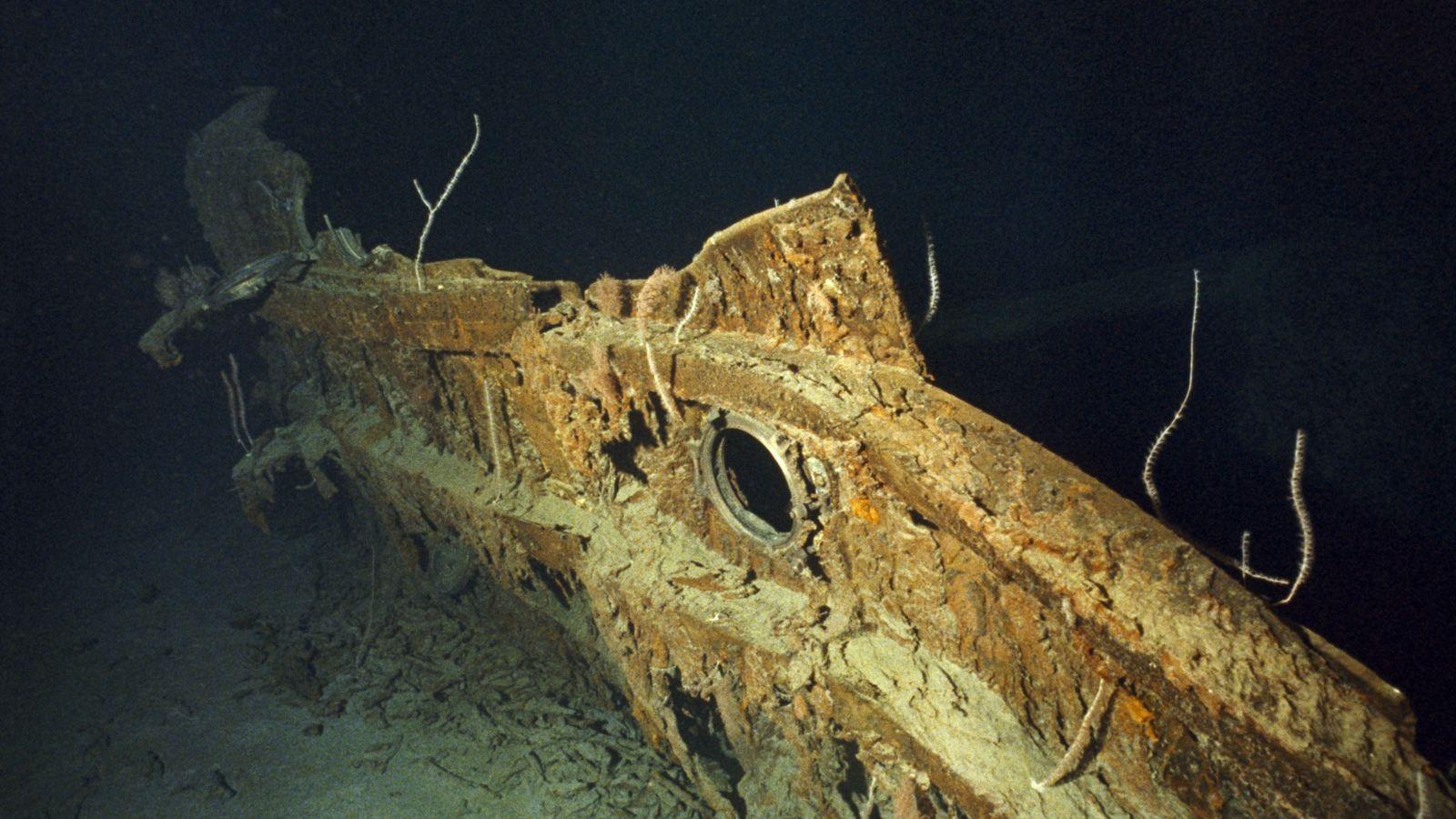 Um fragmento do casco do Titanic.