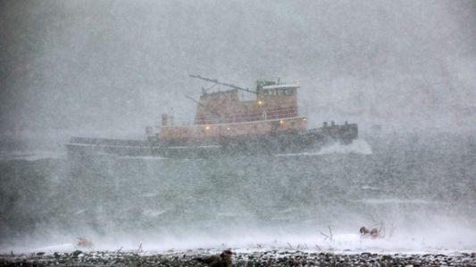 "Fotografias do ""Ciclone Bomba"" na Costa Leste dos Estados Unidos"
