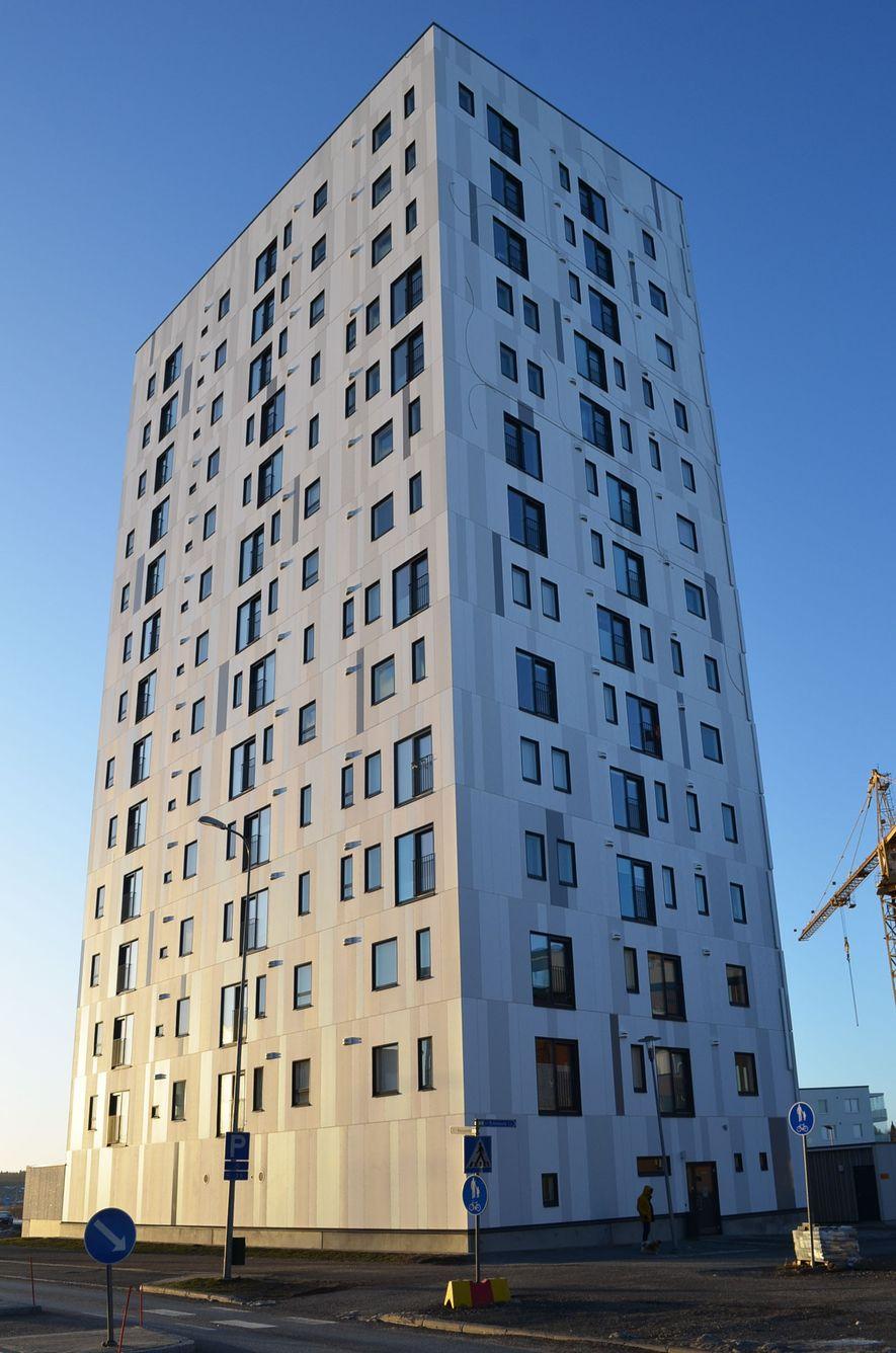Este alojamento para estudantes universitários em Joensuu, na Finlândia, é feito quase inteiramente de madeira.