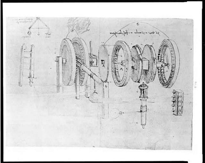Reprodução de uma página do diário de Leonardo Da Vinci onde se vê uma engrenagem a ...