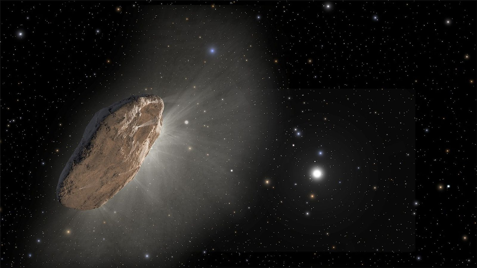 Esta ilustração mostra o 'Oumuamua, o primeiro visitante interestelar detetado. No dia 30 de agosto, um ...