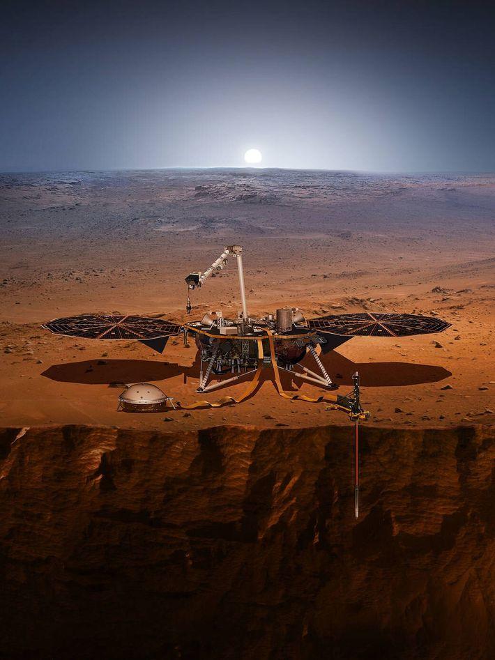 Esta ilustração mostra a sonda InSight em Marte. A sonda InSight, cujo nome é uma abreviatura ...