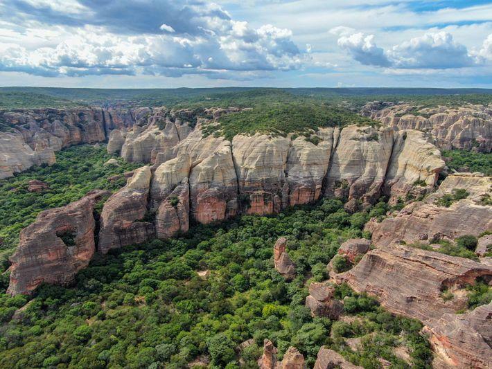 O sítio arqueológico dos macacos-prego fica na Serra da Capivara, um parque nacional no Brasil onde ...