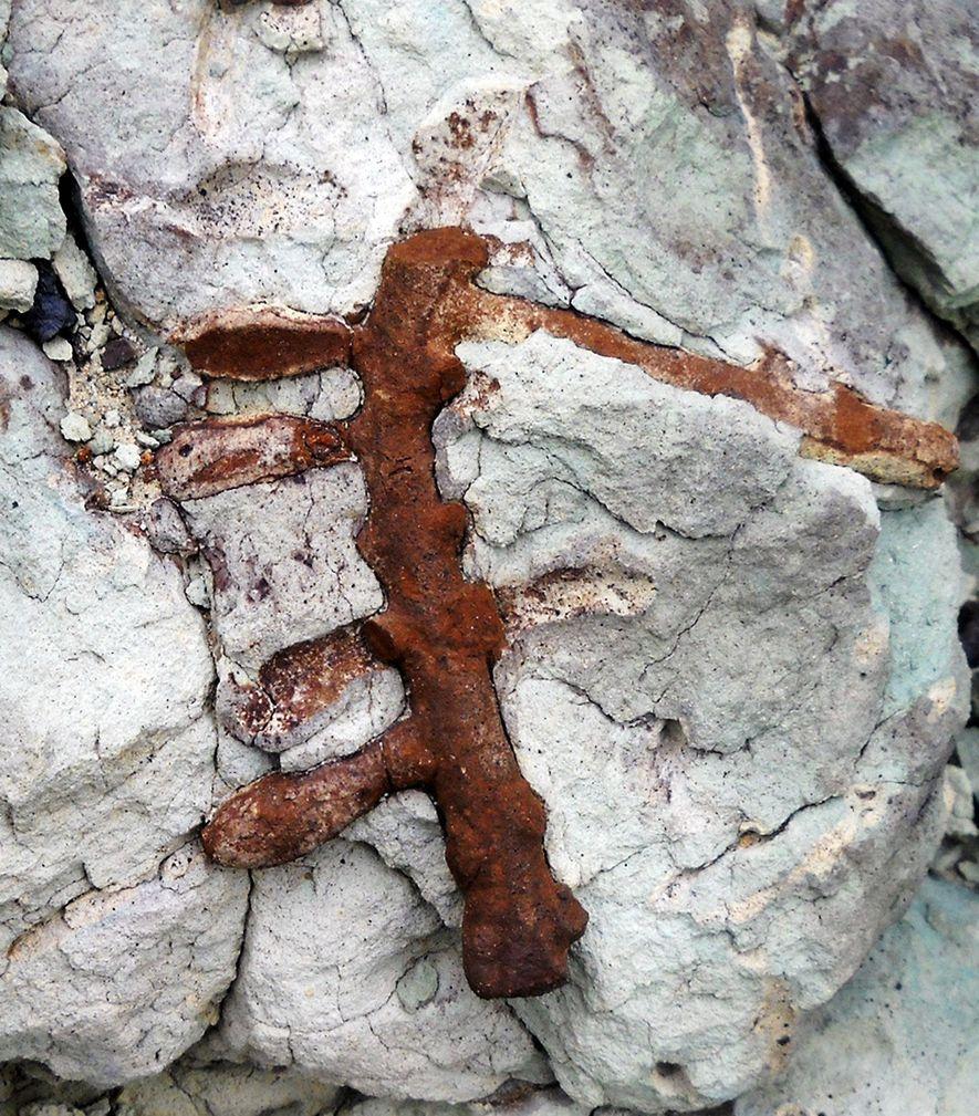 Os investigadores encontraram o ninho recém-descrito de abelhas (Cellicalichnus krausei) nas rochas da Formação Castillo da ...