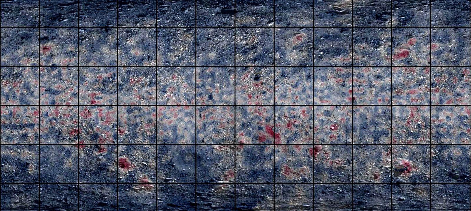 Um mapa global de Bennu, feito com espectroscopia de infravermelhos, destaca as áreas que são ricas ...