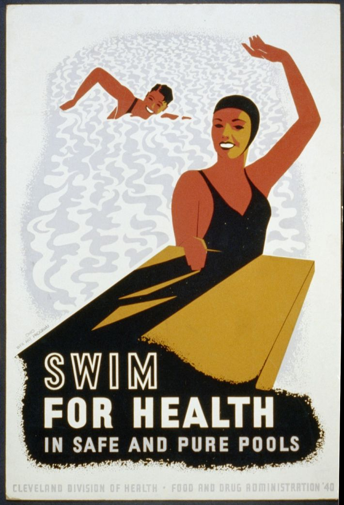 Este cartaz promove a natação como uma forma saudável de exercício, se for praticada em piscinas ...