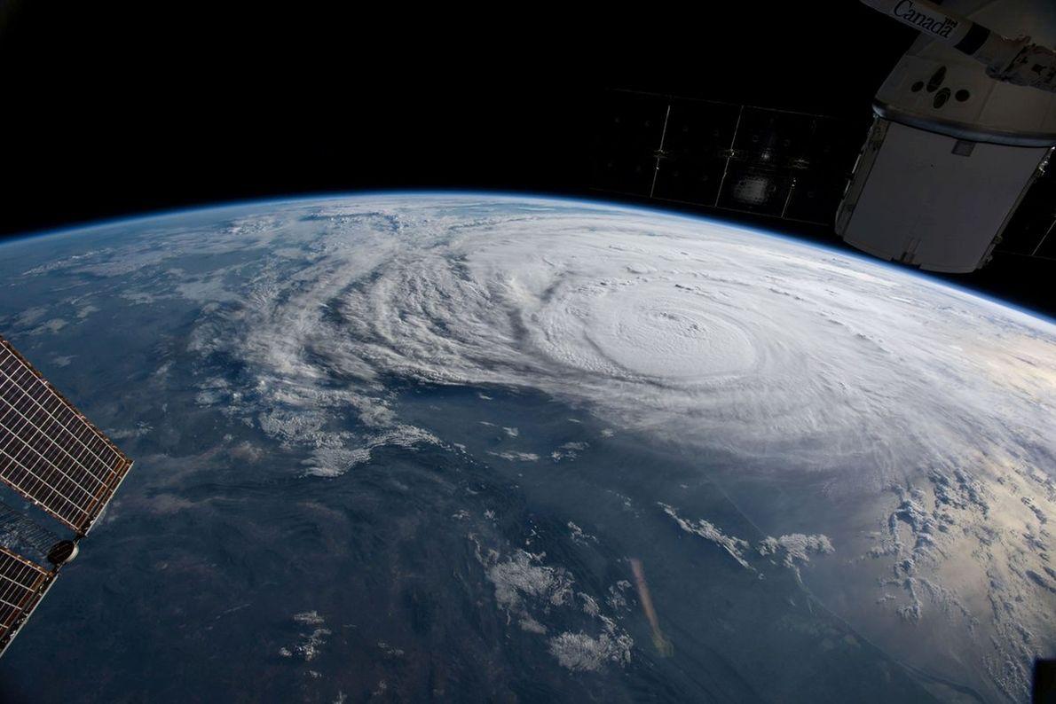 Furacão Harvey fotografado ao largo da costa do Texas