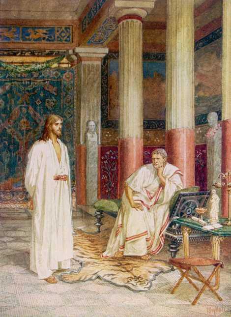 De acordo com o Evangelho Cristão, o governador romano Pôncio Pilatos interrogou Jesus e ordenou a ...