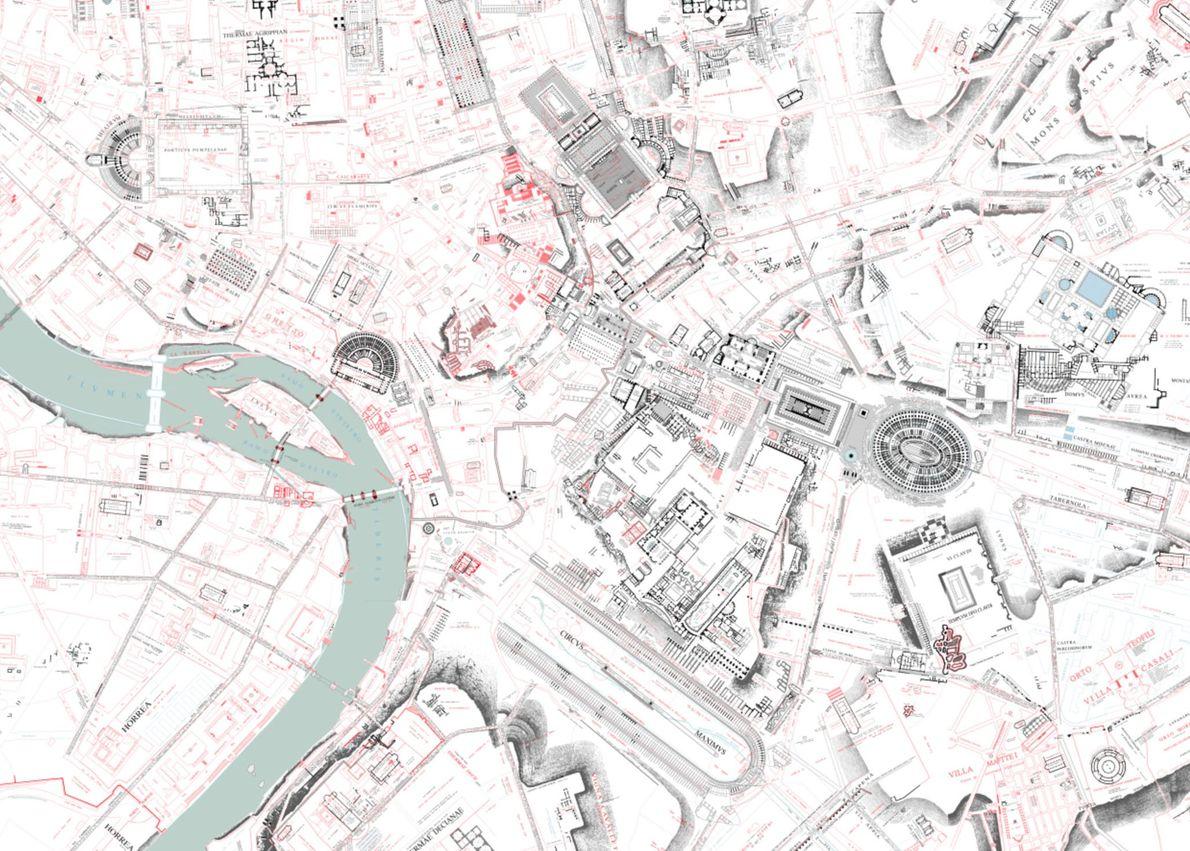 Vista geral do mapa de Lanciani.