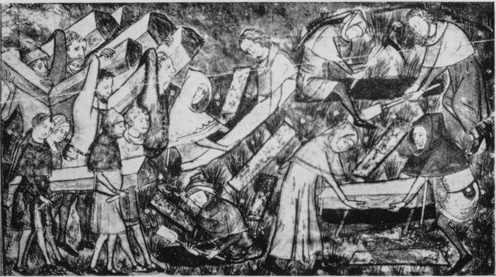 Um desenho do século XIV mostra o enterro de vítimas de peste. Os contos alemães falam ...