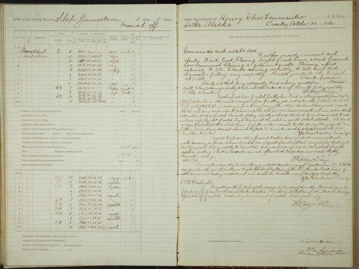 O livro de registos do Jamestown, um navio encalhado ao largo de Sitka, no Alasca, durante ...