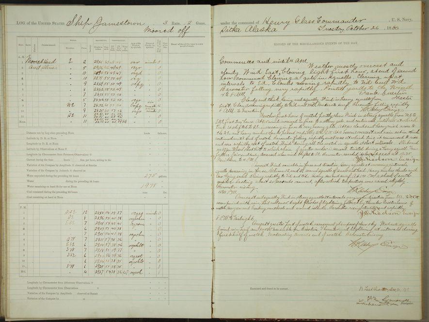 O livro de registos do Jamestown, um navio encalhado ao largo de Sitka, no Alasca, durante um violento furacão em 1880.